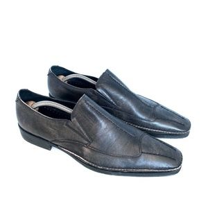 Fiesso Leather Size 8 Gray Loafers Shoes